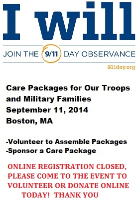 Get Involved with the Massachusetts Military Heroes Fund 9/11 Service Project - Care Packages for Our Troops and Military Families - Sept 11, 2014 - Boston, MA